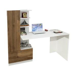 Bílý pracovní stůl s knihovnou v dekoru ořechového dřeva Domingos