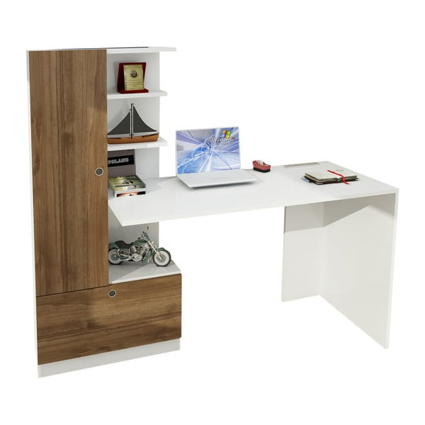 Birou cu bibliotecă în decor de lemn de nuc Domingos, alb