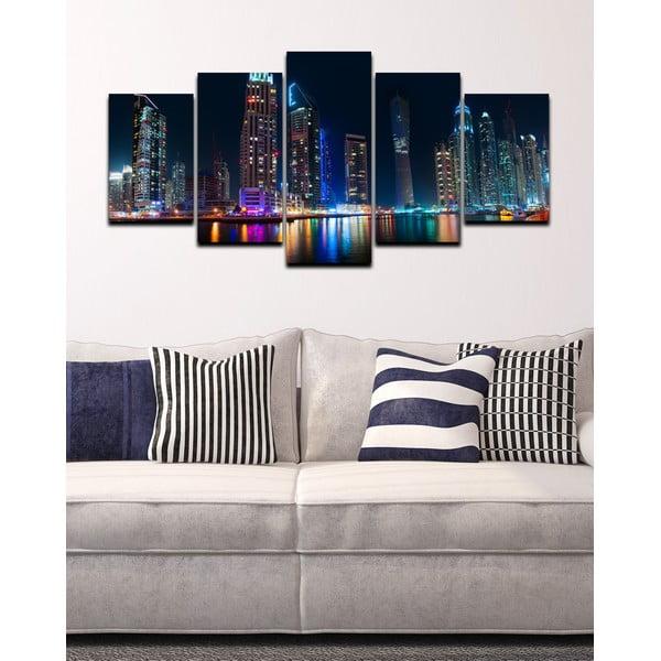 5dílný obraz Noční velkoměsto