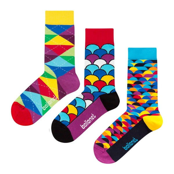 Zestaw 3 par skarpetek Ballonet Socks Bright Sun w opakowaniu podarunkowym, rozmiar 41 - 46