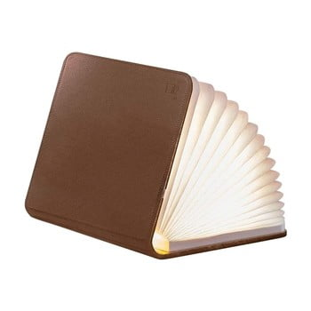 Veioză de birou cu LED Gingko Booklight Mini, formă de carte, maro