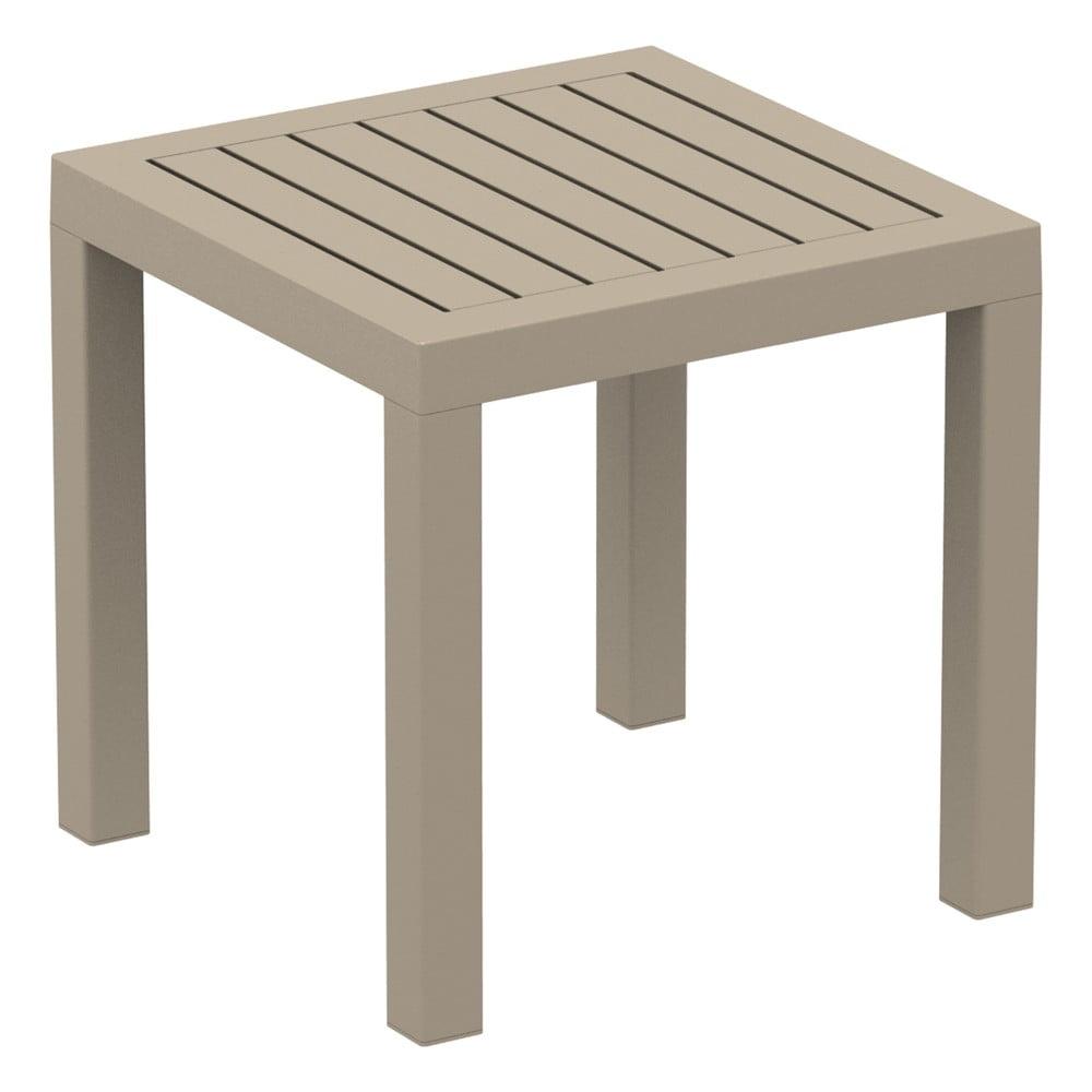 Pískově hnědý zahradní odkládací stolek Resol Ocean, 45 x 45 cm