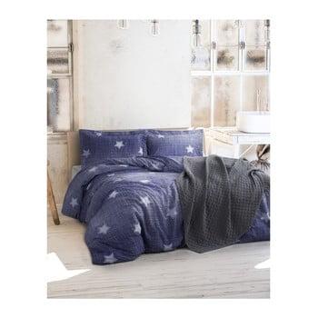 Lenjerie cu cearșaf din bumbac ranforce pentru pat dublu Tstar Blue, 200 x 220 cm de la Unknown