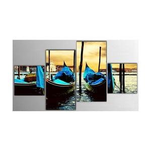 4dílný obraz Blue Boat, 50x100 cm