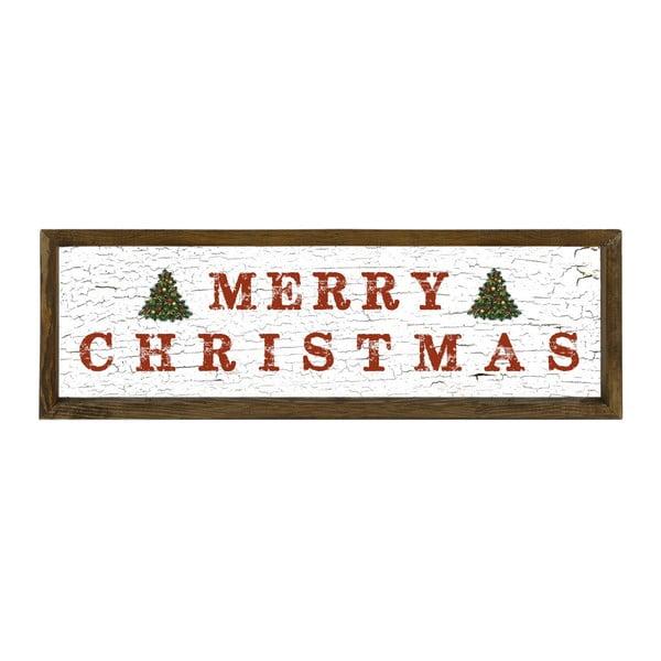 Tablou în ramă de lemn de pin Very Merry Christmas,25x50cm