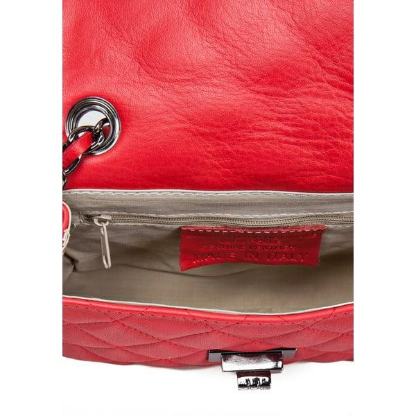 Červená kožená kabelka Markese Nappa