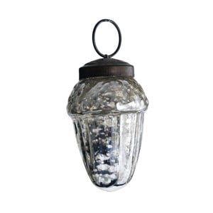 Set šesti skleněných ozdob Drop, antique, stříbrná