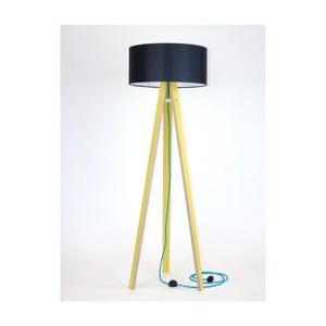 Lampadar galben cu abajur negru și cablu turcoaz Ragaba Wanda