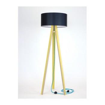 Lampadar galben cu abajur negru și cablu turcoaz Ragaba Wanda imagine