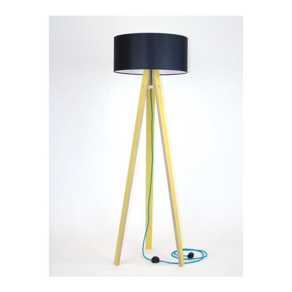 Wanda sárga állólámpa fekete lámpabúrával és türkiz kábellel - Ragaba