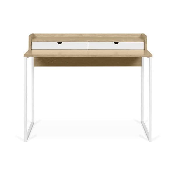 Pracovní stůl s deskou z dubu a bílýma nohama TemaHome Rise, 180 x 83 cm