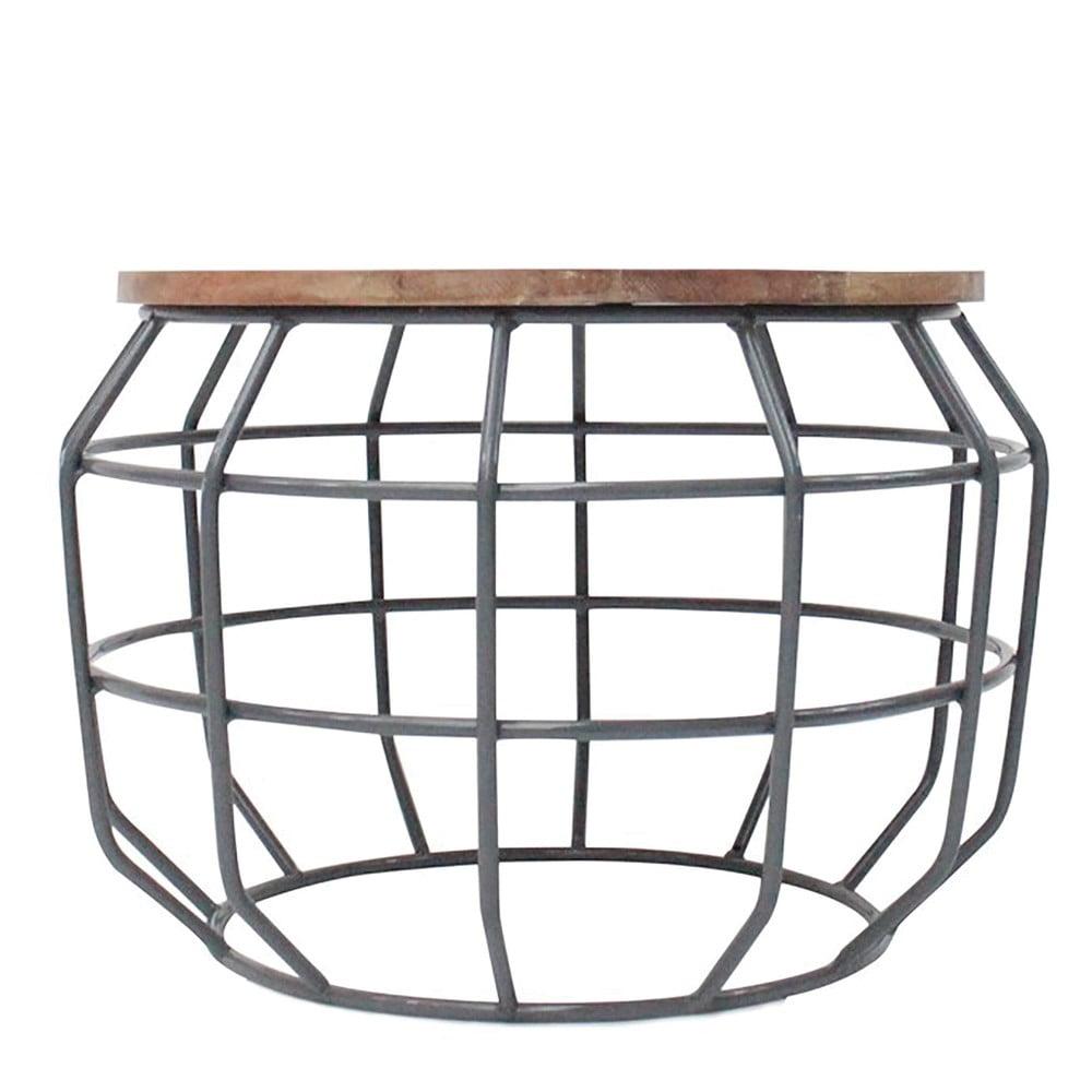 Tmavě šedý konferenční stolek s deskou z mangového dřeva LABEL51 Pixel, ⌀ 56 cm