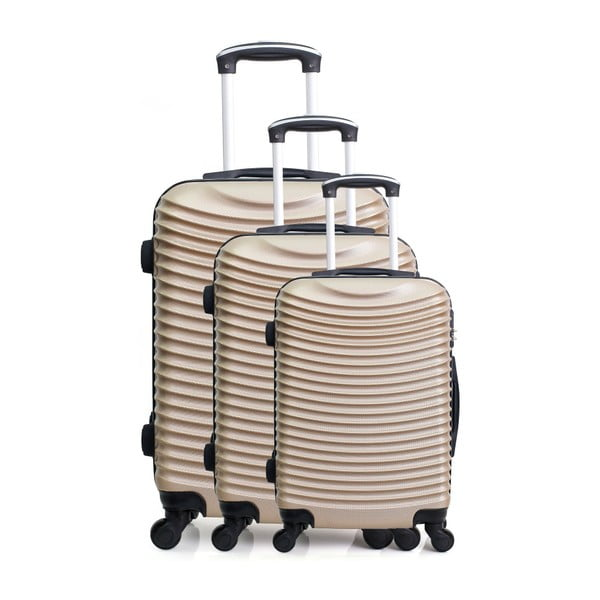 Zestaw 3 walizek na kółkach w kolorze beżowego złota Hero Jasmine