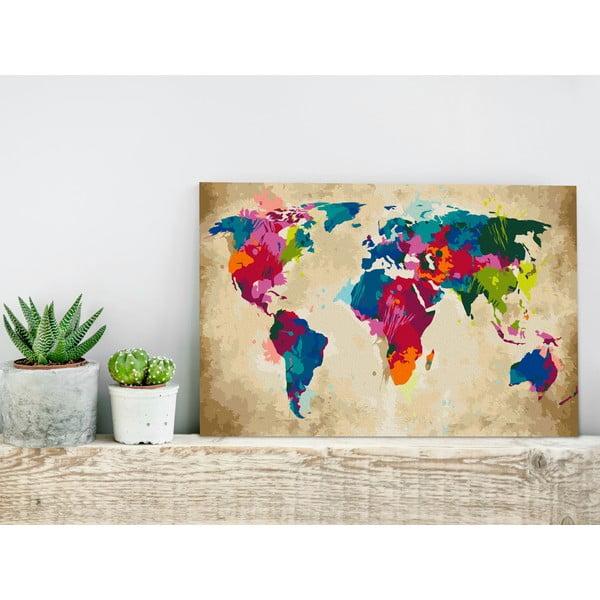 DIY set na tvorbu vlastního obrazu na plátně Artgeist Colorful World Map, 60x40 cm