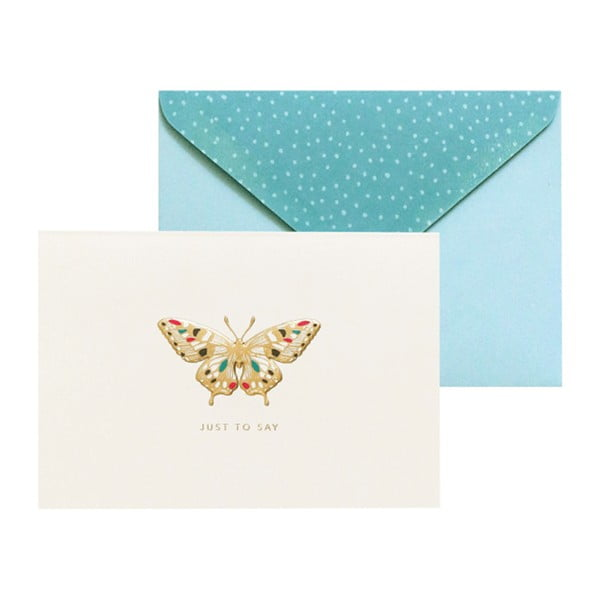 Sada 10 darčekových pohľadníc s obálkami Portico Designs FOIL Butterfly
