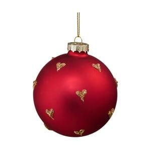 Červená vánoční závěsná ozdoba se zlatými srdíčky Butlers, ⌀ 8 cm