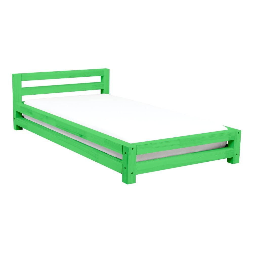 Zelená dvoulůžková postel z borovicového dřeva Benlemi Double, 160 x 200 cm