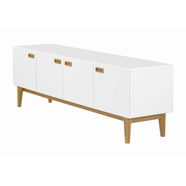 Bílá TV komoda s detaily z dubového dřeva a 4 dvířky We47 Eelis Leela