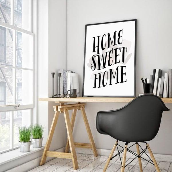 Plakát v dřevěném rámu Home sweet home, 38x28 cm
