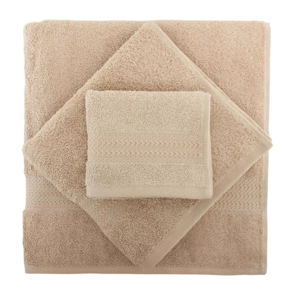 Set 2 béžových bavlněných ručníků a osušky Rainbow