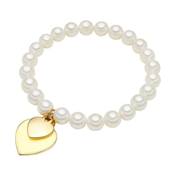 Náramek s bílou perlou Perldesse Ode, ⌀0,8xdélka19cm