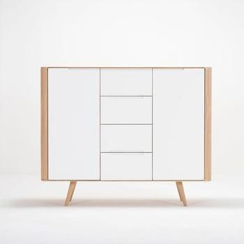 Comodă din lemn de stejar Gazzda Ena Two, 135 x 42 x 110 cm de la Gazzda