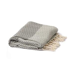 Šedo-černý hammam ručník Spa Time Zig, 95x180cm