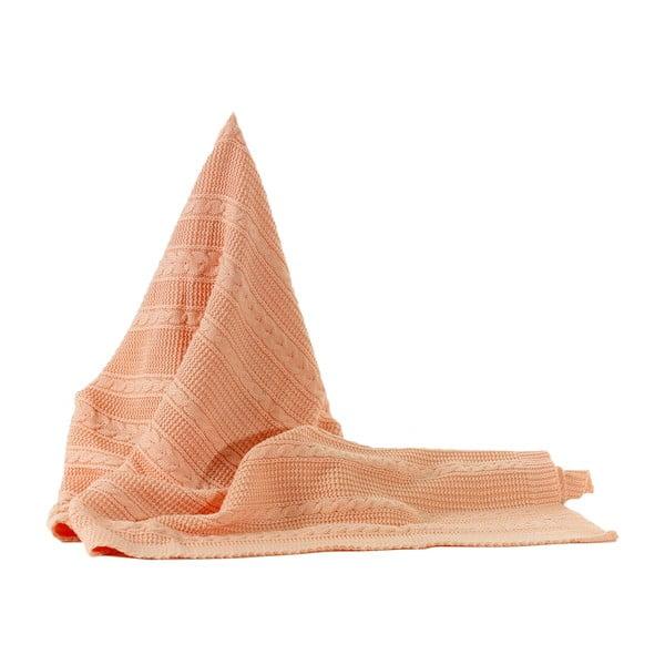 Pletená deka Peach, 130x170 cm