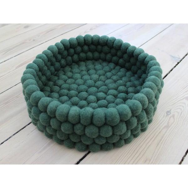 Tmavozelený guľôčkový vlnený úložný košík Wooldot Ball Basket, ⌀ 28 cm