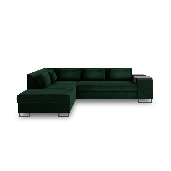 Zielona rozkładana sofa lewostronna Cosmopolitan Design San Diego