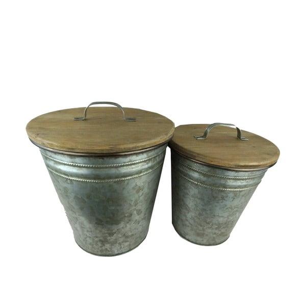 Sada 2 kovových košů s víky z jedlového dřeva Antic Line Poubelles