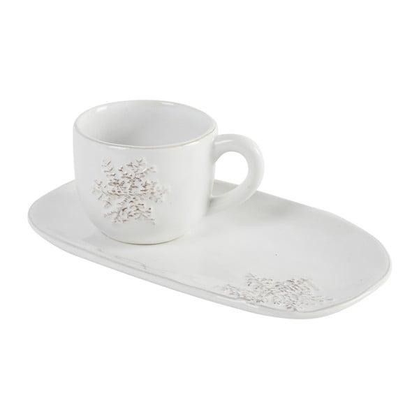 Kávový hrnek s podlouhlým podšálkem Athezza Snowflake, 20 cm