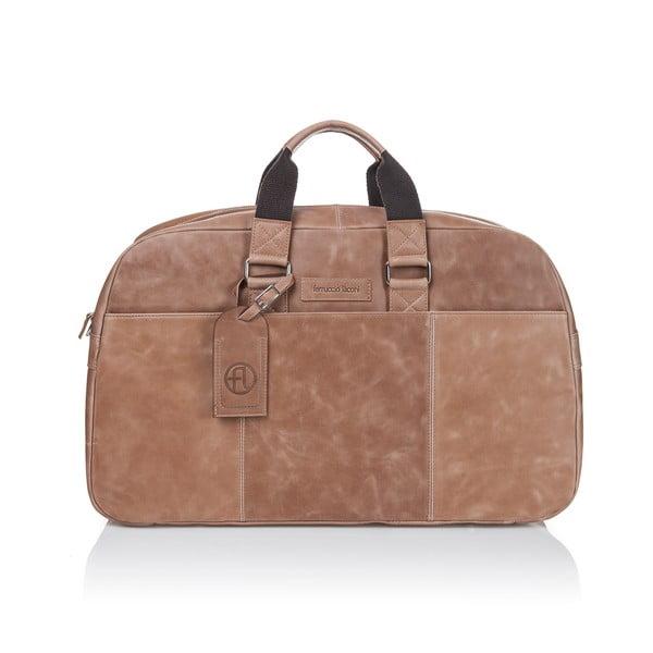 Koňakově hnědá cestovní taška z telecí kůže Ferruccio Laconi Traveler