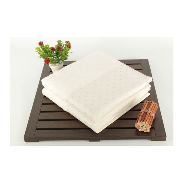 Sada 2 krémových bavlněných ručníků Patricia,50x90cm