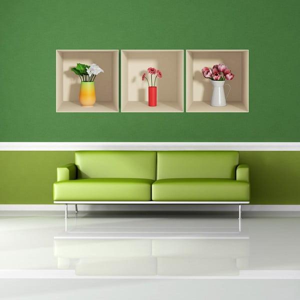 Sada 3 samolepek s 3D efektem Ambiance Flowers