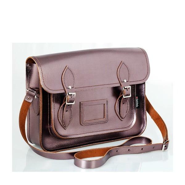 Kožená kabelka Satchel 33 cm, cínová