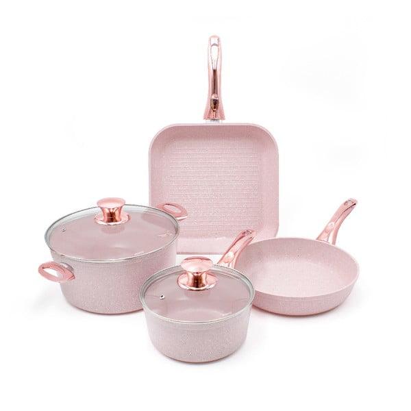 4dílný set nádobí s poklicemi Bisetti Stonerose Rose Fabio