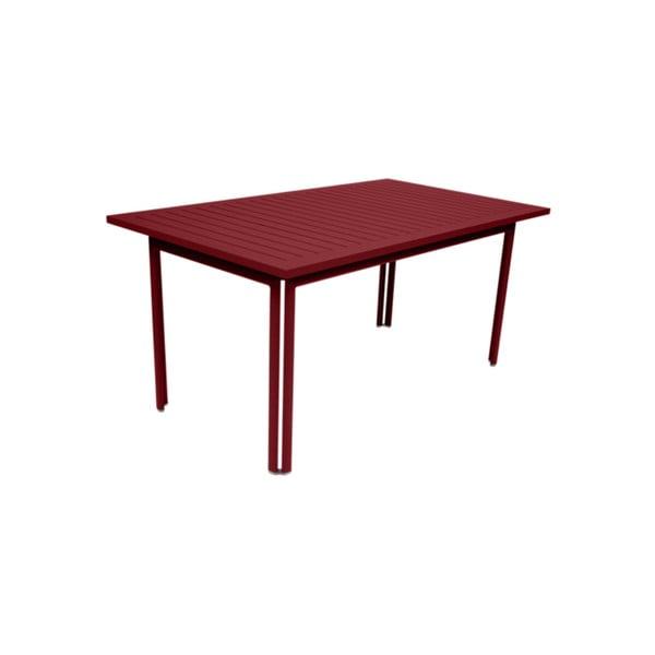 Červený záhradný kovový jedálenský stôl Fermob Costa, 160×80 cm