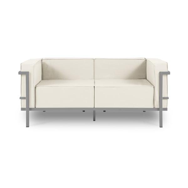 Canapea cu două locuri, adecvată pentru exterior Calme Jardin Cannes, bej - gri
