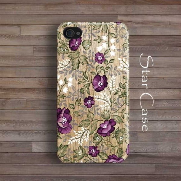 Obal na iPhone 6 Wood Floral Purple