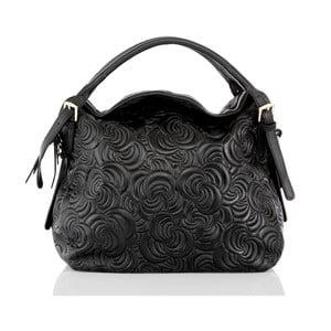 Černá kožená kabelka Glorious Black Flora