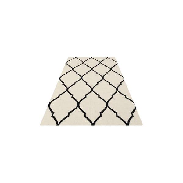 Vlněný koberec Caroline Ivory/Black, 155x240 cm