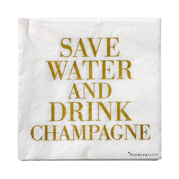 Sada 20 papírových ubrousků Bloomingville Champagne, 33x33cm