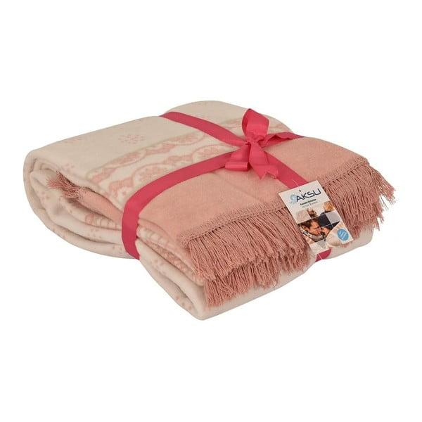 Bílo-růžová deka s příměsí bavlny Aksu Sweety, 200 x 150 cm