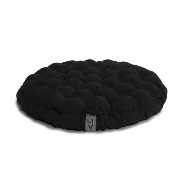 Černý sedací polštářek s masážními míčky Linda Vrňáková Bloom, ø65cm