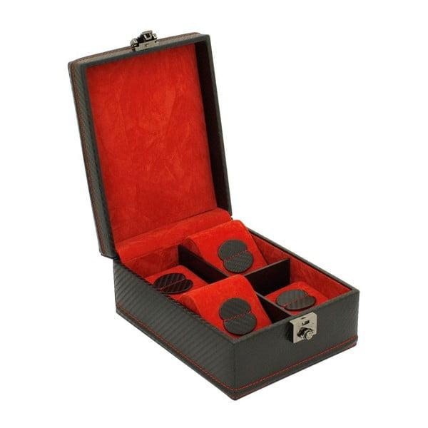 Černo-červený box na 4 hodinky Friedrich Lederwaren Carbon