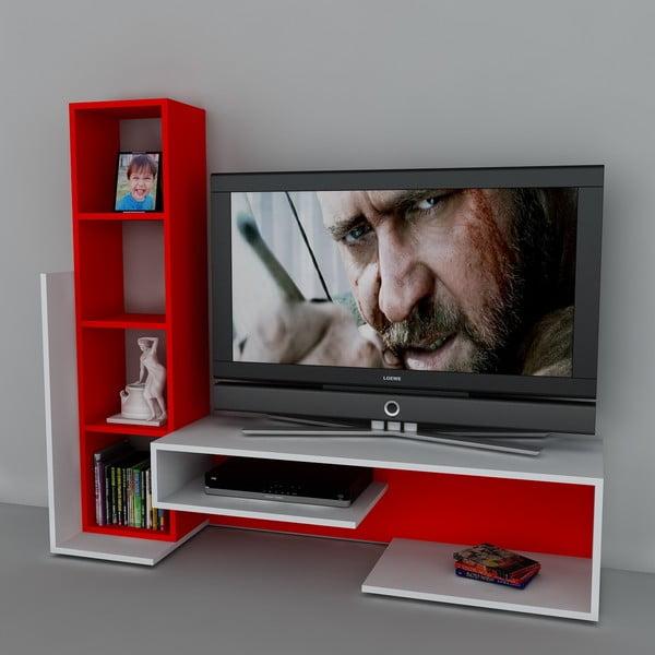 Televizní stěna Bend White/Red, 39x153,6x130,9 cm
