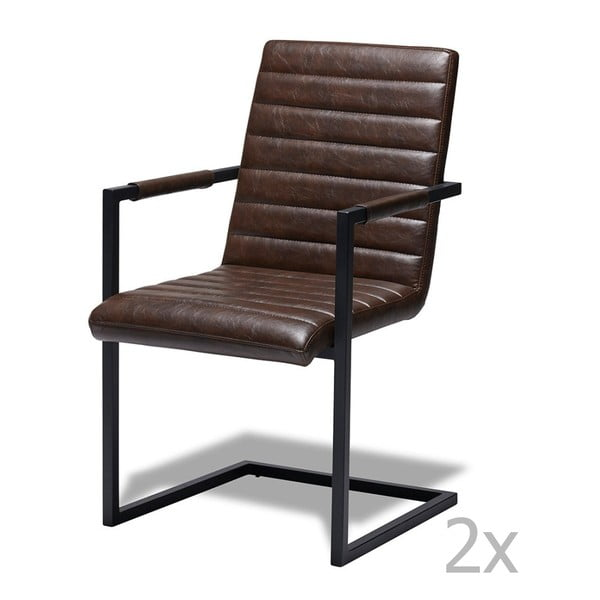 Set 2 scaune Furnhouse Fanny, maro închis