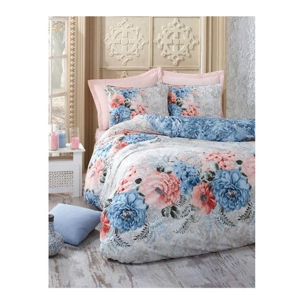 Lenjerie și cearșaf din bumbac pentru pat de o persoană Floralista, 160 x 220 cm