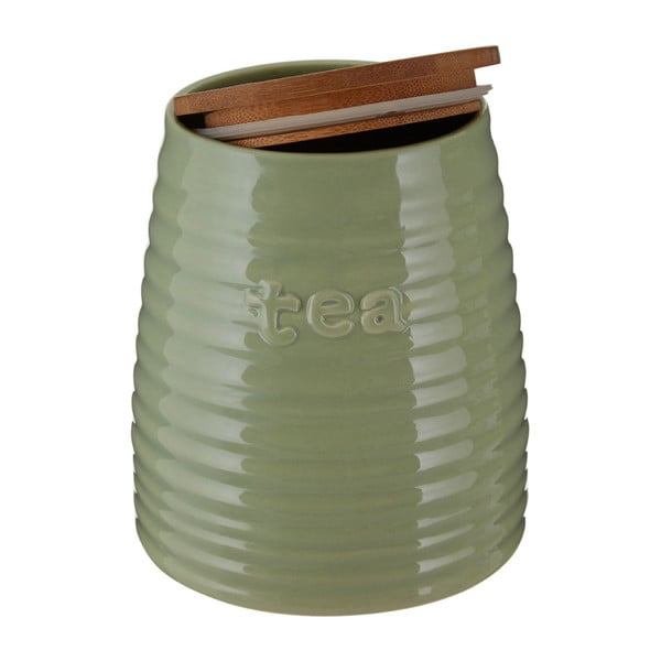 Zielony pojemnik na herbatę z bambusowym wieczkiem Premier Housewares Winnie, 950 ml